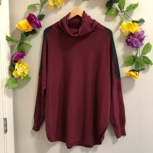 Lole Turtleneck open side Burgundy Sweater